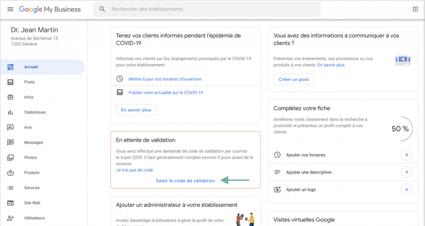 Console administrative Google My Business