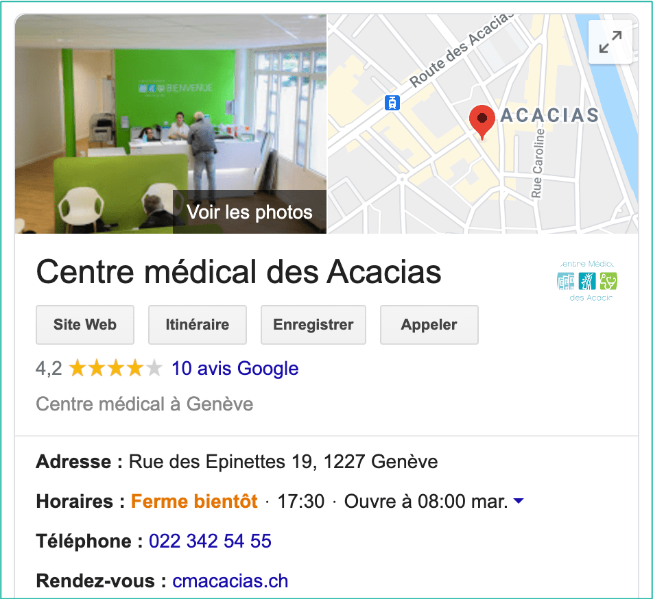 Google My Business exemple centre médical