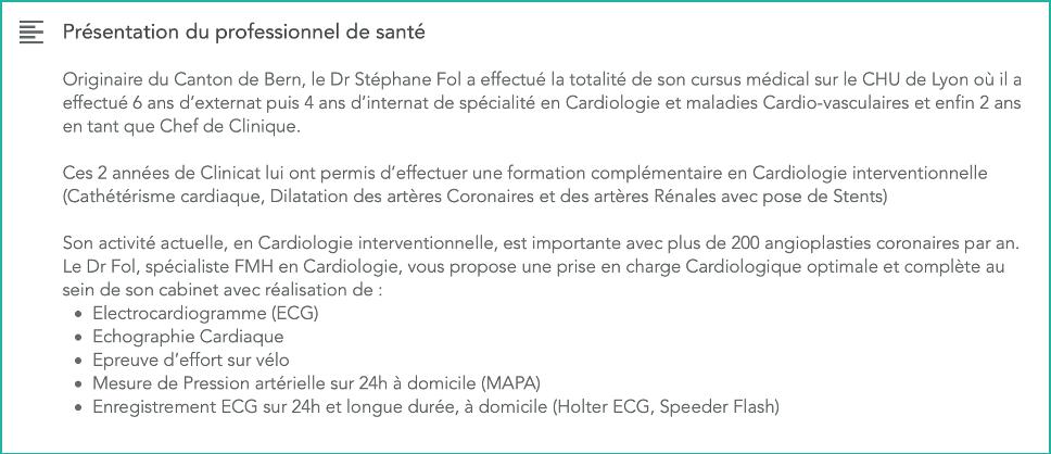 Présentation du professionnel de santé sur OneDoc