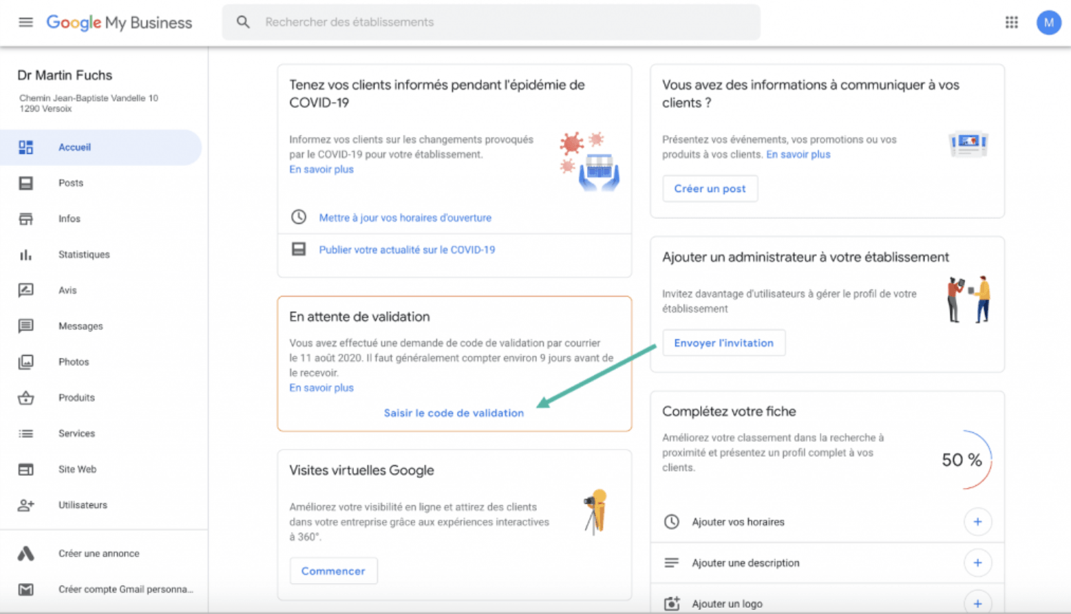 Google My Business - Google - étape 5