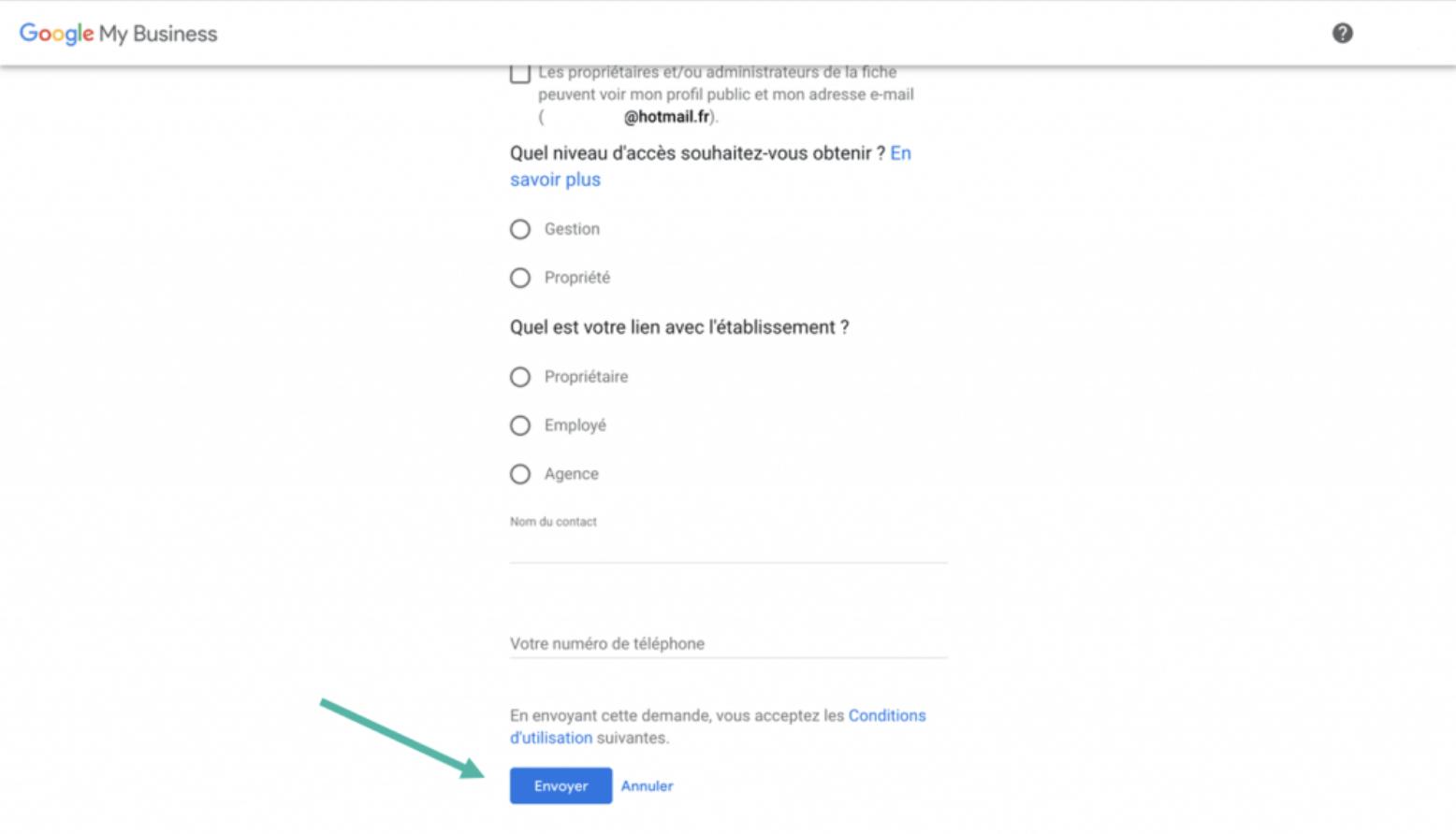 Google My Business - Google - étape y